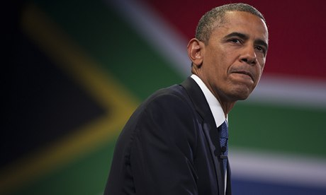 US president, Barack Obama, in South Africa